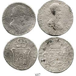 Lot of 2 Spanish/Spanish colonial bust 8 reales of Ferdinand VII (Cadiz, Spain, 1814CJ; and Potosi,