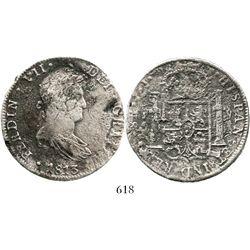 Lima, Peru, bust 8 reales, Ferdinand VII, 1813JP. KM-117.1; CT-480. 23.8 grams. Bold details despite