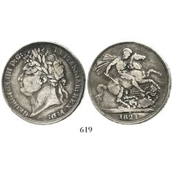London, England, crown, George IV, 1821, SECUNDO on edge. Spink-3805; KM-680.1. 27.7 grams. Totally