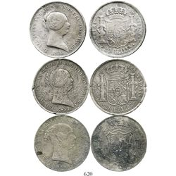 Lot of 3 Spanish bust 20 reales (dollar-sized) of Isabel II: Madrid, 1850; Seville, 1854 and 1855.