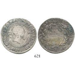 Madrid, Spain, bust 10 reales (4R-sized), Ferdinand VII, 1821SR. KM-560.2; CT-762. 12.8 grams. Deepl