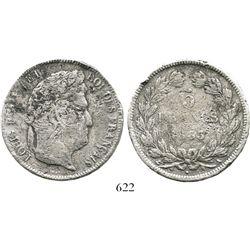 France (Paris mint), 5 francs, Louis-Philippe I, 1833-A. KM-749.1. 22.9 grams. Bold details (except