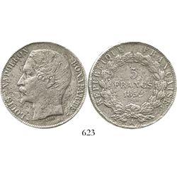 France (Paris mint), 5 francs, Louis-Napoleon (Republic), 1852-A. KM-773.1. 22.0 grams. Bold details