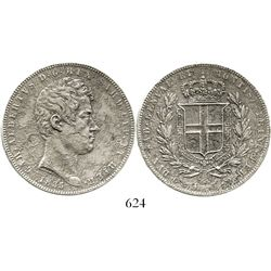 Sardinia, Italy, 5 lire, Charles Albert, 1835-P, anchor mintmark. KM-113.3. 23.0 grams. Choice XF de