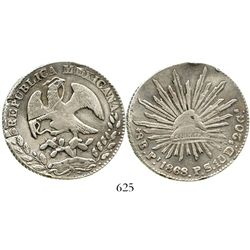 San Luis Potosi, Mexico, cap-and-rays 8 reales, 1868PS, rare provenance. KM-377.12. 26.9 grams. Lust