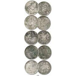 Lot of 5 Lima, Peru, 1 sols, various dates (1864, 1870, 1874, 1890 and 1891).  122.2 grams total. So