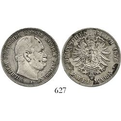 Prussia, German States, 2 mark, 1876-A, rare provenance. KM-506. 10.6 grams. AXF details, virtually