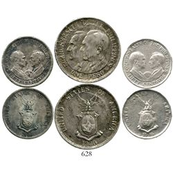 Lot of 3 Philippines silver coins of 1936 (1 peso, Roosevelt and Quezon; 50 centavos, Murphy and Que