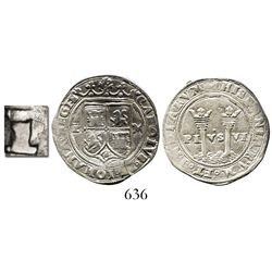 """Mexico City, Mexico, 1 real, Charles-Joanna, """"Late Series,"""" L/R(?) to left, M to right, very rare ov"""