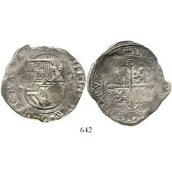Mexico City, Mexico, cob 8 reales, Philip II, assayer F. KM-43. 27.5 grams. Broad flan with much mor