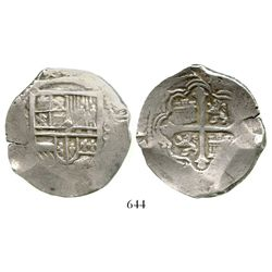 Mexico City, Mexico, cob 8 reales, Philip III, assayer not visible, choice.  27.6 grams. Very bold f