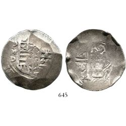 Mexico City, Mexico, cob 8 reales, Philip III or IV, assayer D.  27.2 grams. Round and somewhat cupp