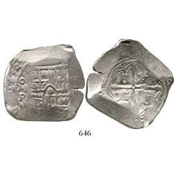 Mexico City, Mexico, cob 8 reales, 1653P. S-M19; KM-45; CT-358. 27.2 grams. Full date and oMP, good