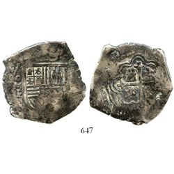 Mexico City, Mexico, cob 8 reales, (16)62P, rare. S-M19; KM-45; CT-372. 23.3 grams. Clear 62 of date