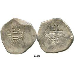 Mexico City, Mexico, cob 8 reales, Philip IV, assayer G (rare). S-19a; KM-45. 26.1 grams. Full and c