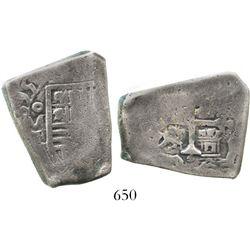 Mexico City, Mexico, cob 8 reales, (1)695L, very rare, clipped. S-M21; KM-46; CT-296. 20.4 grams. Sm