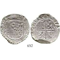 Mexico City, Mexico, cob 4 reales, Philip II, assayer F.  KM-36. 13.4 grams. Silvery XF with good fu