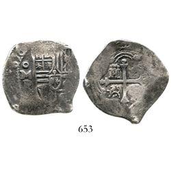 Mexico City, Mexico, cob 4 reales, (1)656P, rare. S-M19; KM-38; CT-712. 12.9 grams. Bold date and mi