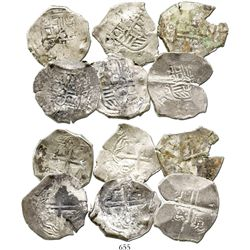 Lot of 6 Mexico City, Mexico, cob 4 reales, Philip IV, assayer P (where visible), with test-cuts and