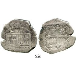 Mexico City, Mexico, cob 4 reales, Philip IV or Charles II, assayer not visible, obverse struck from