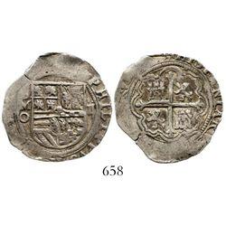 Mexico City, Mexico, cob 2 reales, Philip II, assayer O to left. S-M11; KM-31; CT-504. 6.8 grams. Ni
