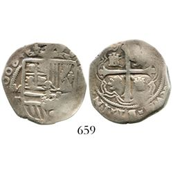 """Mexico City, Mexico, cob 2 reales, (1)608F, rare, no """"o"""" in mintmark (unique). S-M15; KM-unlisted; C"""