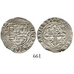 Mexico City, Mexico, cob 1 real, Philip II, assayer O to right. S-M11; KM-26; CT-643. 3.4 grams. Bol