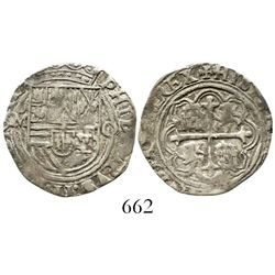 Mexico City, Mexico, cob 1 real, Philip II, assayer O to right. S-M11; KM-26; CT-643. 3.3 grams. Ric