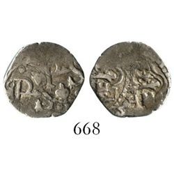 Mexico City, Mexico, cob 1/2 real, Philip III, assayer not visible, double-struck on both sides.  1.