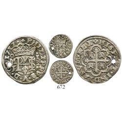 Mexico City, Mexico, cob 1/2 real Royal, 1717J, rare. S-M22CT-1807. 1.4 grams. Typically fully detai