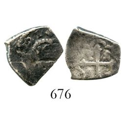 Mexico City, Mexico, cob 1/2 real, 1721(J). S-M22; KM-24; CT-1834. 1.7 grams. Full and bold date, fu