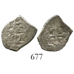 Mexico City, Mexico, cob 1/2 real, 1722J. S-M22; KM-24; CT-1835. 1.7 grams. Bold full 22 of date, fu