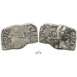 Mexico City, Mexico, klippe 8 reales, 1733F. S-M27; KM-48; CT-767. 26.7 grams. Bold full date and oM