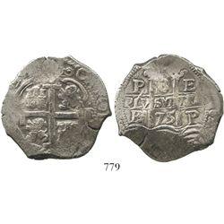 Potosi, Bolivia, cob 8 reales, 1675E. S-P37b; KM-26; CT-350. 27.9 grams. Bold full pillars and cross