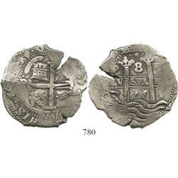Potosi, Bolivia, cob 8 reales, 1677E. S-P37b; KM-26; CT-352. 27.5 grams. High grade (XF) with very b
