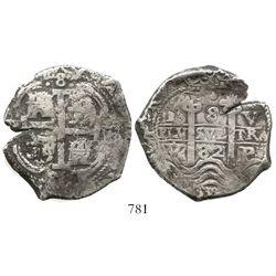Potosi, Bolivia, cob 8 reales, 1682V. S-P39; KM-26; CT-364. 25.4 grams. Good full pillars-and-waves