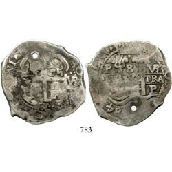 Potosi, Bolivia, cob 8 reales, 1684VR. S-P40; KM-26; CT-367. 27.0 grams. Broad flan with bold 84 dat