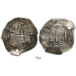 Potosi, Bolivia, cob 8 reales, 1685VR. S-P40; KM-26; CT-368. 25.9 grams. Nice full pillars-and-waves