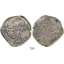 Potosi, Bolivia, cob 8 reales, 1687VR. S-P40; KM-26; CT-372. 26.9 grams. Richly toned AVF with full
