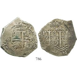 Potosí, Bolivia, cob 8 reales, 1689VR. S-P40; KM-26; CT-374. 26.6 grams. Choice full pillars-and-wav