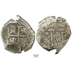 Potosi, Bolivia, cob 8 reales, 1690VR. S-P40; KM-26; CT-376. 27.1 grams. Technically high grade (XF)