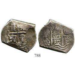 Potosí, Bolivia, cob 8 reales, 1697CH, very rare. S-P41; KM-26; CT-384. 23.7 grams. Full pillars-and