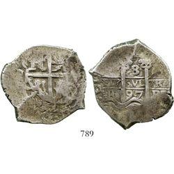 Potosi, Bolivia, cob 8 reales, 1697F. S-P42; KM-26; CT-385. 25.6 grams. Good full pillars with bold