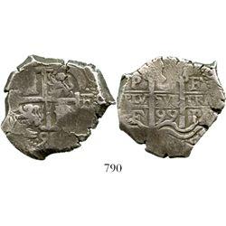 Potosi, Bolivia, cob 8 reales, 1699F. S-P42; KM-26; CT-388. 26.3 grams. Good full cross and pillars,