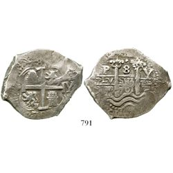 Potosi, Bolivia, cob 8 reales, 1701Y/F, very rare, finest known. S-P43; KM-26; CT-unlisted. 26.5 gra