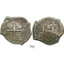 Potosi, Bolivia, cob 8 reales, 1703Y. S-P43a; KM-31; CT-863. 26.7 grams. Great full cross, full pill