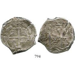 Potosi, Bolivia, cob 8 reales, 1704Y. S-P43a; KM-31; CT-864. 27.3 grams. Bold full pillars, full but