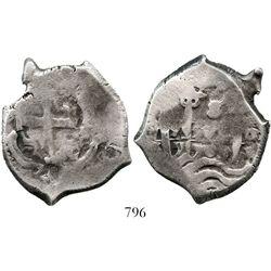 Potosi, Bolivia, cob 8 reales, 1709Y. S-P43a; KM-31; CT-869. 25.7 grams. Very odd shape with narrow