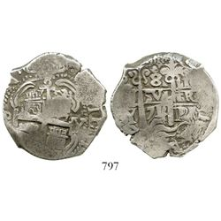 Potosi, Bolivia, cob 8 reales, 1714Y. S-P43a; KM-31; CT-874. 26.9 grams. Full but slightly doubled p