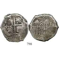 Potosi, Bolivia, cob 8 reales, 1716Y. S-P43a; KM-31; CT-876. 27.0 grams. Choice, round specimen with